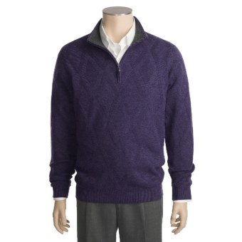 Kinross Cashmere Diamond Texture Sweater - Zip Neck (For Men) in Regal