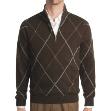 Kinross Cashmere Double Raker Mock Neck Sweater - Zip Neck (For Men) in Stag W/Zinc/Bramble - Closeouts