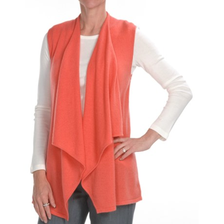 Kinross Cashmere Drape Front Vest - 2-Ply, 7-Gauge (For Women) in Coral