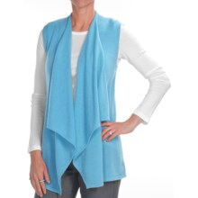Kinross Cashmere Drape Front Vest - 2-Ply, 7-Gauge (For Women) in Turquoise - Closeouts