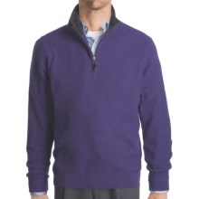 Kinross Cashmere Pique Sweater - Zip Mock Neck (For Men) in Regal/Charcoal - Closeouts