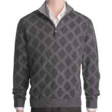 Kinross Cashmere Plaited Diamond Sweater - Zip Mock Neck (For Men) in Charcoal/Zinc - Closeouts