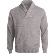 Kinross Cashmere Pullover Sweater - Elbow Patches, Shawl Collar (For Men) in Zinc - Closeouts