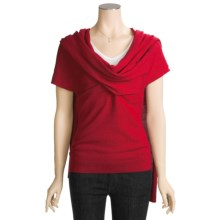 Kinross Cashmere Pullover Sweater - Wrap Front, Short Sleeve (For Women) in Red - Closeouts