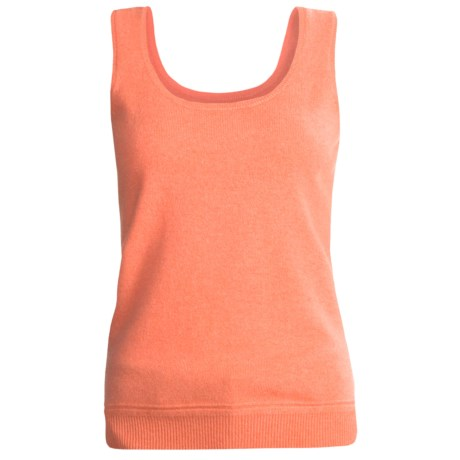 Kinross Cashmere Tank Top - 2-Ply 12-Gauge (For Women) in Sunrise