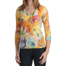 Kinross Cashmere V-Neck Sweater - Abstract Floral, 3/4 Sleeve (For Women) in Multi - Closeouts