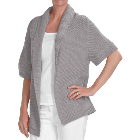 Kinross Cotton Basket Weave Cardigan Sweater - 3-Ply, 14-Gauge, Short Sleeve (For Women) in Boardwalk