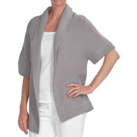 Kinross Cotton Basket Weave Cardigan Sweater - 3-Ply, 14-Gauge, Short Sleeve (For Women) in Boardwalk