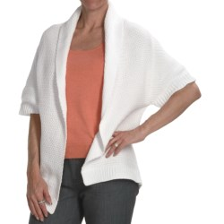 Kinross Cotton Basket Weave Cardigan Sweater - 3-Ply, 14-Gauge, Short Sleeve (For Women) in Canvas