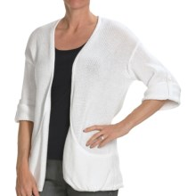 Kinross Cotton Twist Pocket Cardigan Sweater - 3-Ply, 14-Gauge, 3/4 Sleeve (For Women) in Canvas - Closeouts