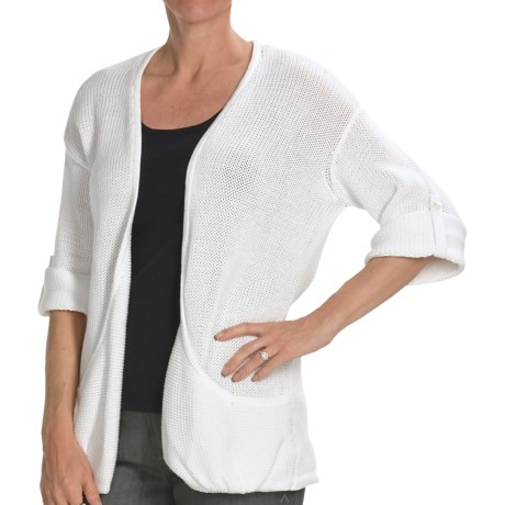 Kinross Cotton Twist Pocket Cardigan Sweater - 3-Ply, 14-Gauge, 3/4 Sleeve (For Women) in Canvas