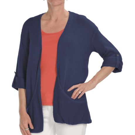 Kinross Cotton Twist Pocket Cardigan Sweater - 3-Ply, 14-Gauge, 3/4 Sleeve (For Women) in Night Heron