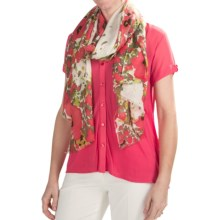 Kinross Field of Poppies Print Scarf - Silk-Wool (For Women) in Multi - Closeouts