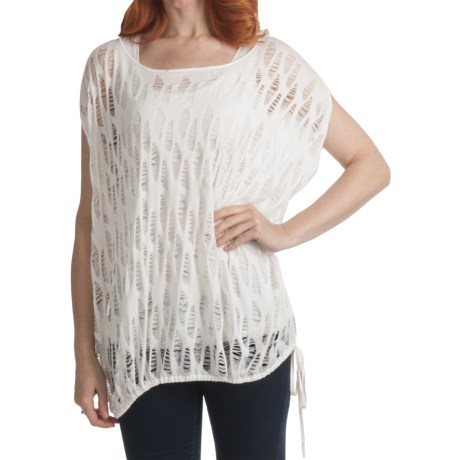 Kinross Lightweight Lace-Stitch Poncho - Modal-Cashmere (For Women) in Linen