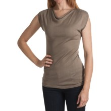 Kinross Lightweight Luxe Drape Neck Shirt - Modal-Cashmere, Short Sleeve (For Women) in Twine - Closeouts