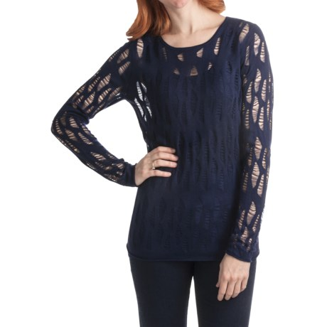 Kinross Lightweight Luxe Lace Stitch T-Shirt - 2-Ply, 14-Gauge, Long Sleeve (For Women) in Navy