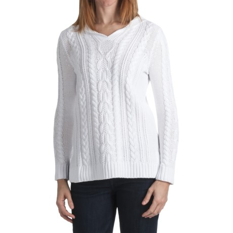 Kinross Luxe Cable Hoodie Sweater - 3-Ply, 14-Gauge Cotton (For Women) in Canvas