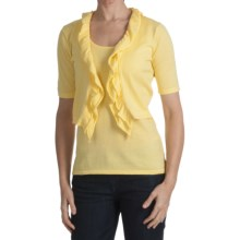 Kinross Luxe Ruffled Crop Cardigan Sweater- 14-Gauge Cotton, Short Sleeve (For Women) in Sunshine - Closeouts