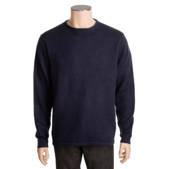 Kinross Plaited Jersey Sweater - Cashmere, Rolling Crew Neck (For Men) in Midnight/Charcoal