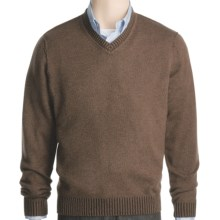 Kinross Plaited Jersey Sweater - Cashmere, V-Neck (For Men) in Bramble/Stag - Closeouts