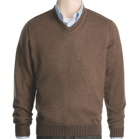 Kinross Plaited Jersey Sweater - Cashmere, V-Neck (For Men) in Bramble/Stag