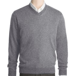 Kinross Plaited Jersey Sweater - Cashmere, V-Neck (For Men) in Bramble/Stag