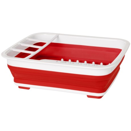 Kitchen Details Collapsible Dishrack in Red/White