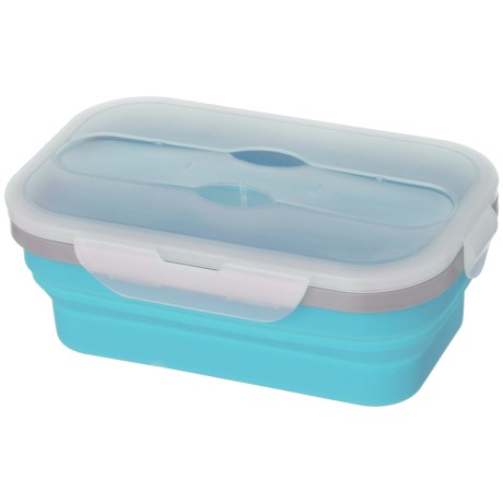 Kitchen Details Collapsible Lunch Box with Spoon and Fork - 33.8 oz., BPA-Free in Blue
