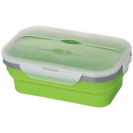Kitchen Details Collapsible Lunch Box with Spoon and Fork - 33.8 oz., BPA-Free in Lime