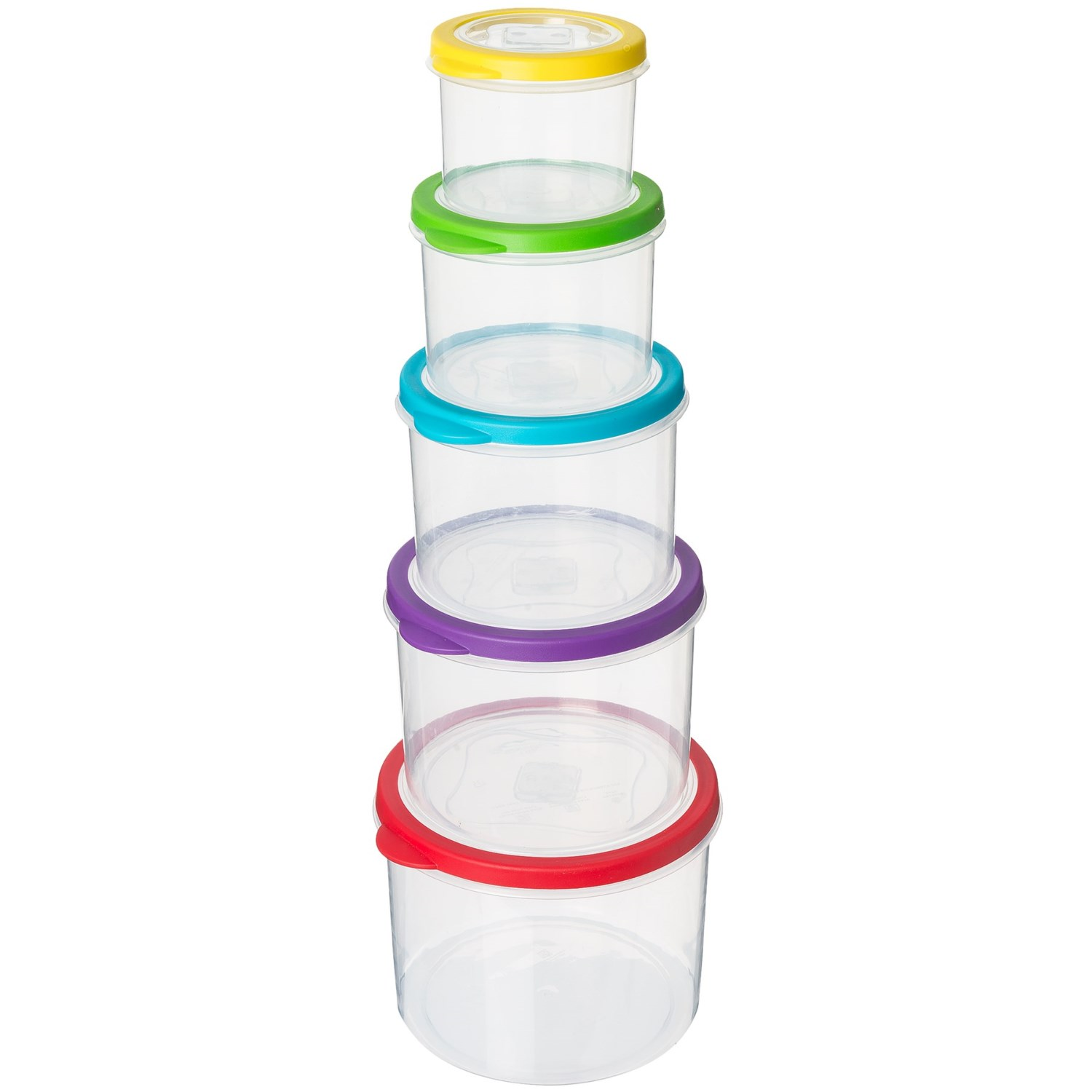 Kitchen Details Rainbow Round Clear Food Storage Containers - 10 ...