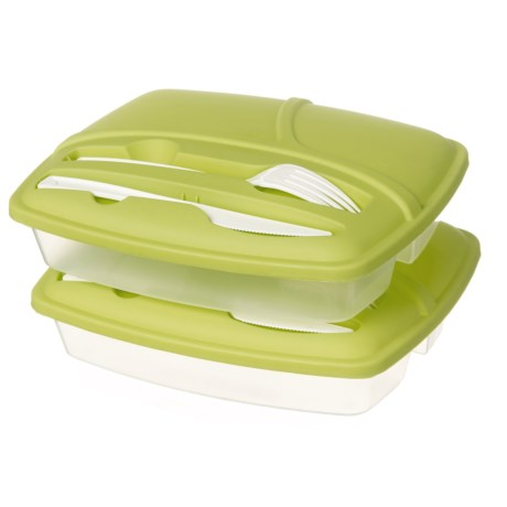 Kitchen Details Three-Compartment Lunch Box with Cutlery - 2-Pack, BPA-Free in Lime