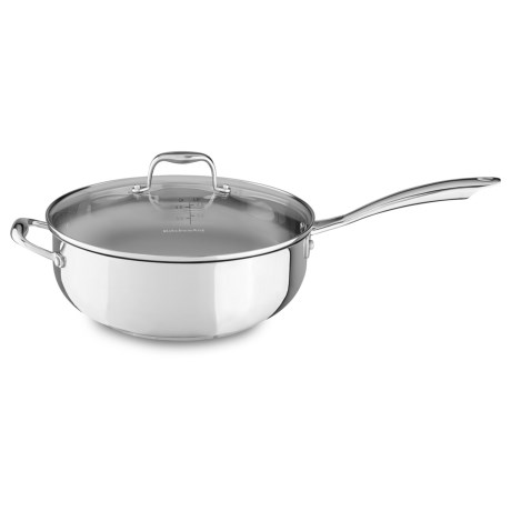 KitchenAid Chef's Pan with Glass Lid - 6 qt., Stainless Steel in Stainless Steel