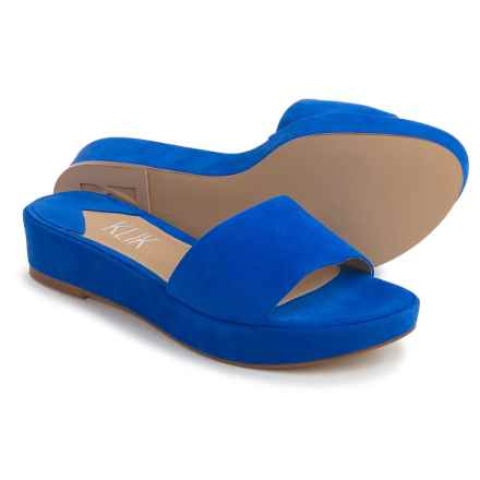 Klik Charli Platform Sandals - Leather (For Women) in Royal Blue Suede - Closeouts
