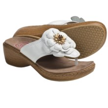 Klogs Aloha Thong Sandals - Leather (For Women) in White Smooth - Closeouts