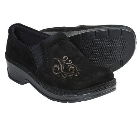 Klogs Naples Clogs - Suede, Closed Back (For Women) in Black Suede Scroll