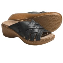 Klogs Tropical Platform Sandals - Leather (For Women) in Black Smooth - Closeouts