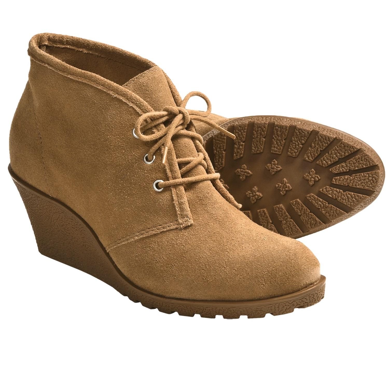 Klub Nico Keaton Shoes - Suede, Wedge Heel (For Women) in Tan