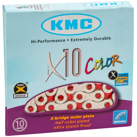 KMC X10 Road Bike Chain in Silver/Red