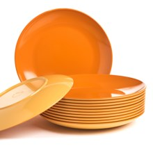 "Knack3 Bohemian Brights Dinner Plates - 12-Piece 10"", Two-Tone in Orange - Closeouts"