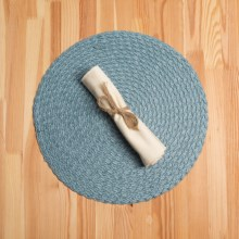 Knack3 Braided Round Placemat in Dark Blue - Closeouts