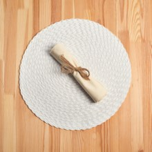 Knack3 Braided Round Placemat in White - Closeouts