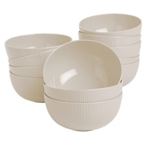 Knack3 Cabin Collection Melamine Bowls - Set of 12 in Light Grey - Closeouts
