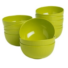 Knack3 Cabin Collection Melamine Bowls - Set of 12 in Lime - Closeouts