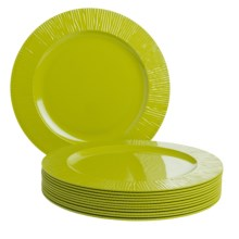 Knack3 Cabin Collection Melamine Dinner Plates - Set of 12 in Lime - Closeouts