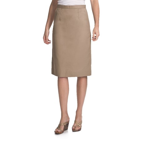 Knee-Length Pleated Skirt (For Women) in British Khaki