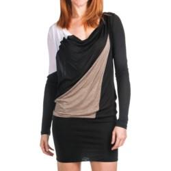 Knit Color-Block Dress - Drape Neck, Long Sleeve (For Women) in Black/Brown