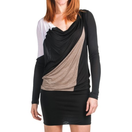 Knit Color-Block Dress - Drape Neck, Long Sleeve (For Women) in Black/Brown