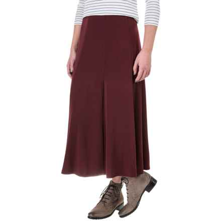Knit Gored Midi Skirt (For Women) in Dark Red - Closeouts