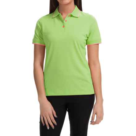 Knit Moisture-Wicking Polo Shirt - Short Sleeve (For Women) in Neon Green - 2nds