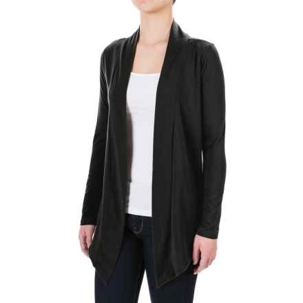 Knit Open-Front Cardigan Shirt - Long Sleeve (For Women) in Black - 2nds